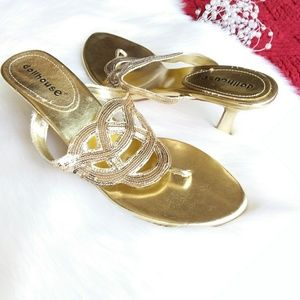 Dollhouse | Gold Heeled Sandal Sz 10